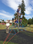 Opening of the new play equipment July 2019 - Cllr Bartle and pupils of Shrivenahm Primary School